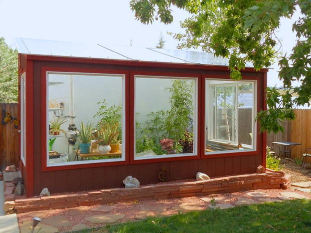 solar greenhouse in the summer