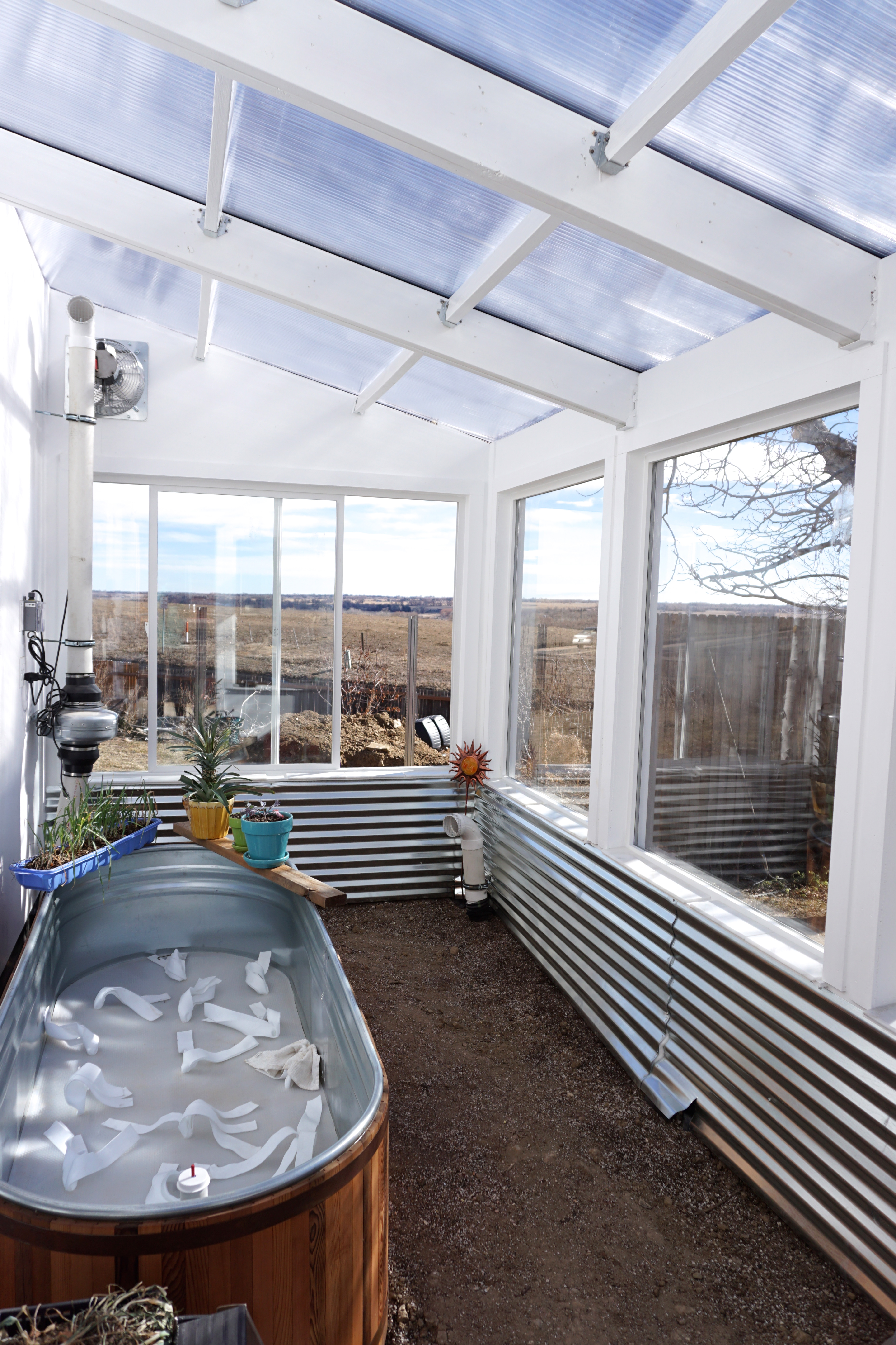 12 x 16 solar greenhouse with self-wicking beds