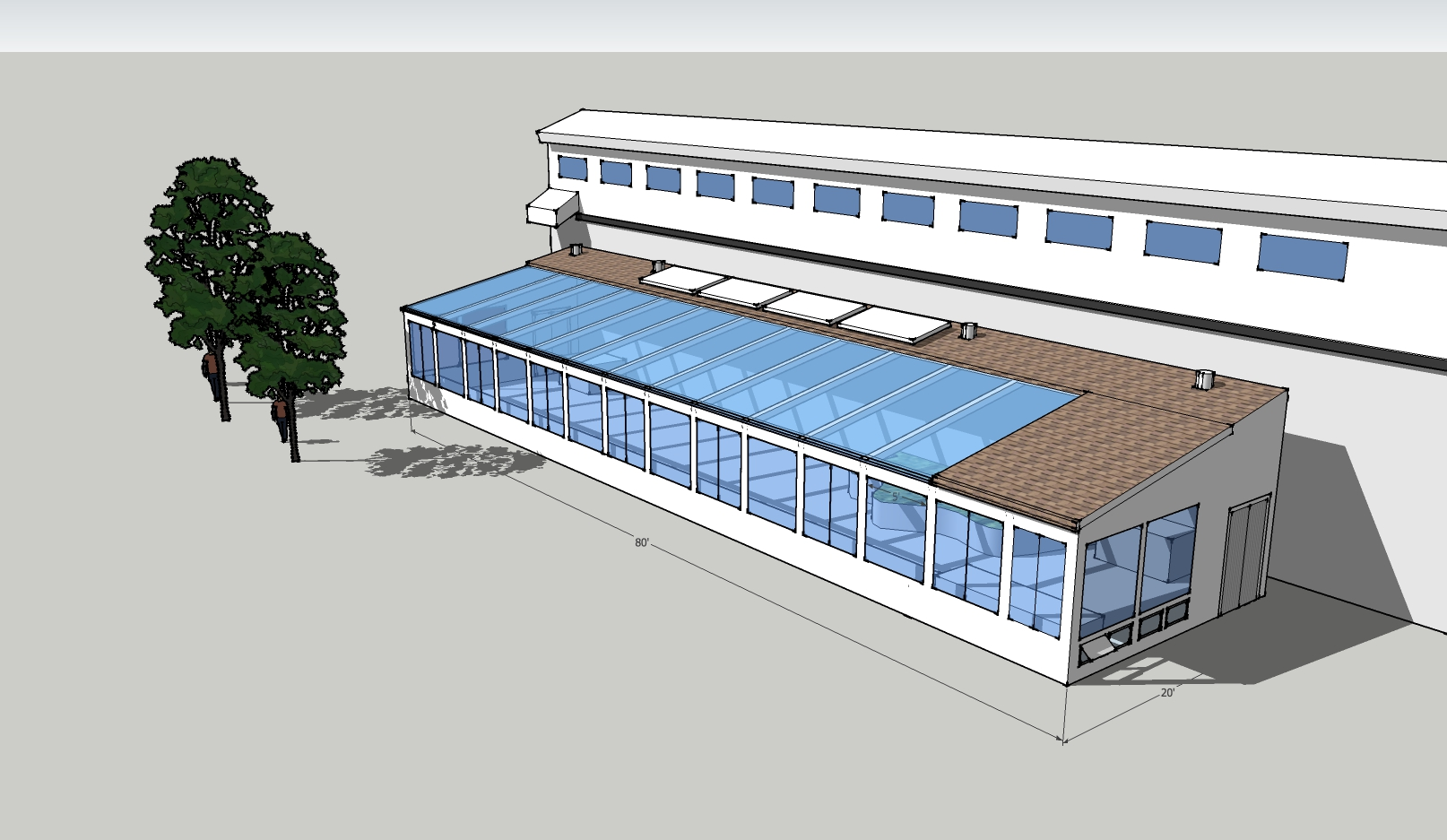 SketchUp Model for an attached solar greenhouse