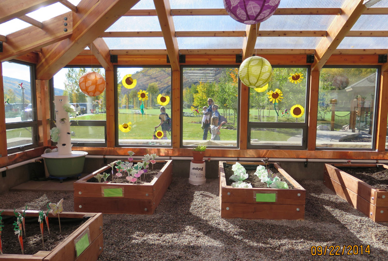 glass view windows in a school greenhouse