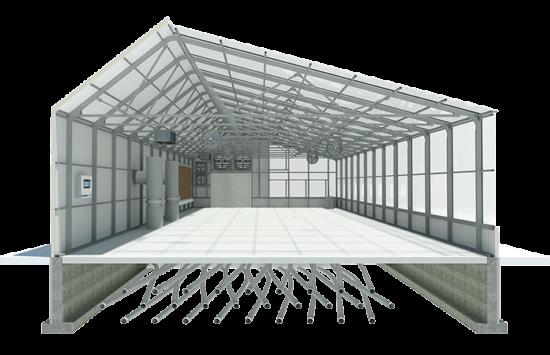 side cut of greenhouse- 3D