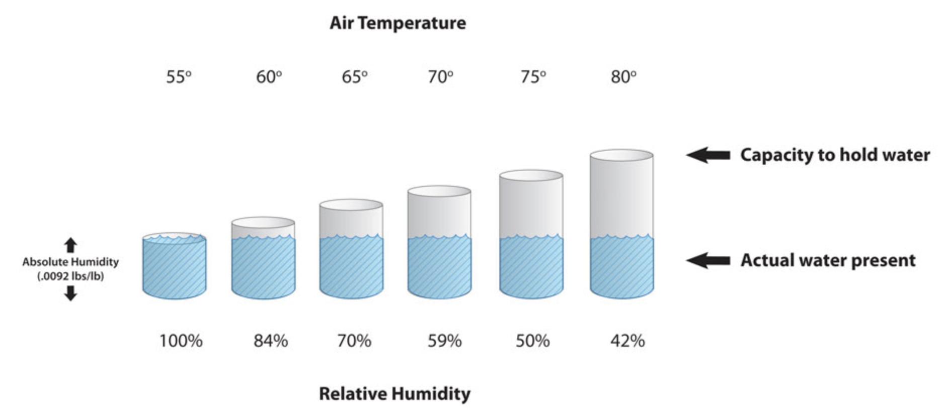 Relative versus absolute humidity